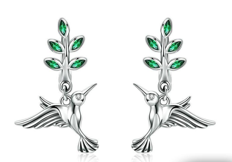 Boucles d\'oreilles colibri argent