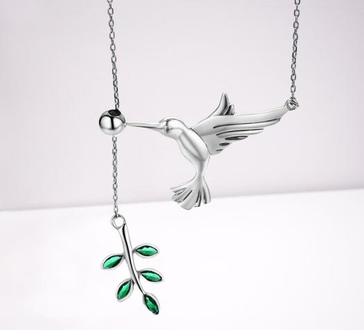 collier colibri argent