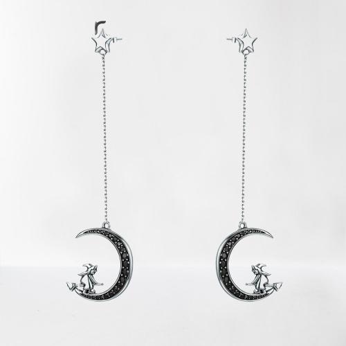 Boucles d\'oreilles pendantes sorcière sur lune