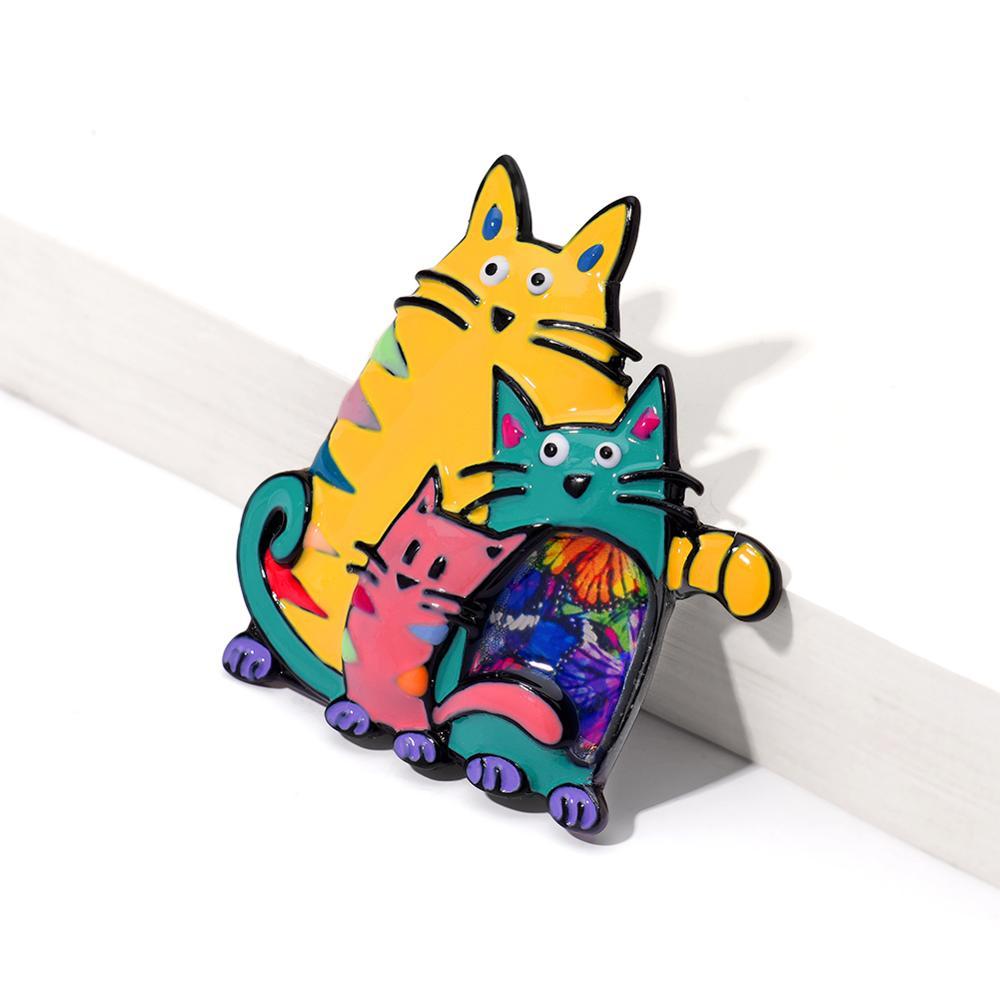 broche famille de chats