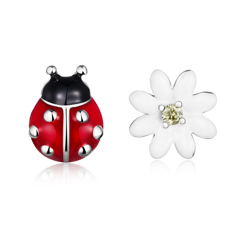 Boucles d'oreilles coccinelle fleur
