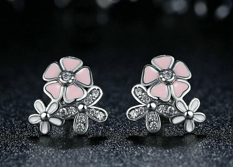 Boucles d\'oreilles fleurs, puces argent