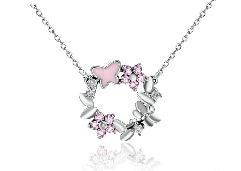 Collier couronne de fleurs, libellules et papillons argent