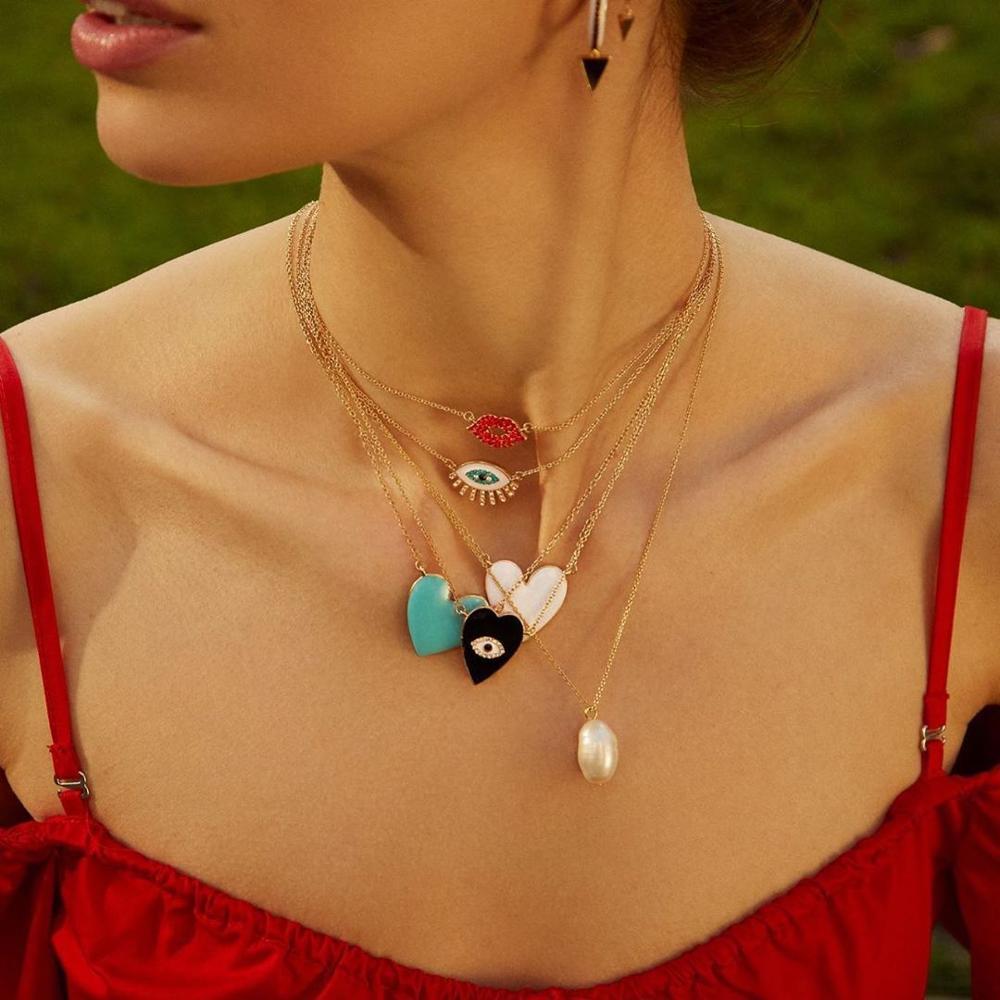 Colliers talisman protection mauvais oeil, coeur, bisou