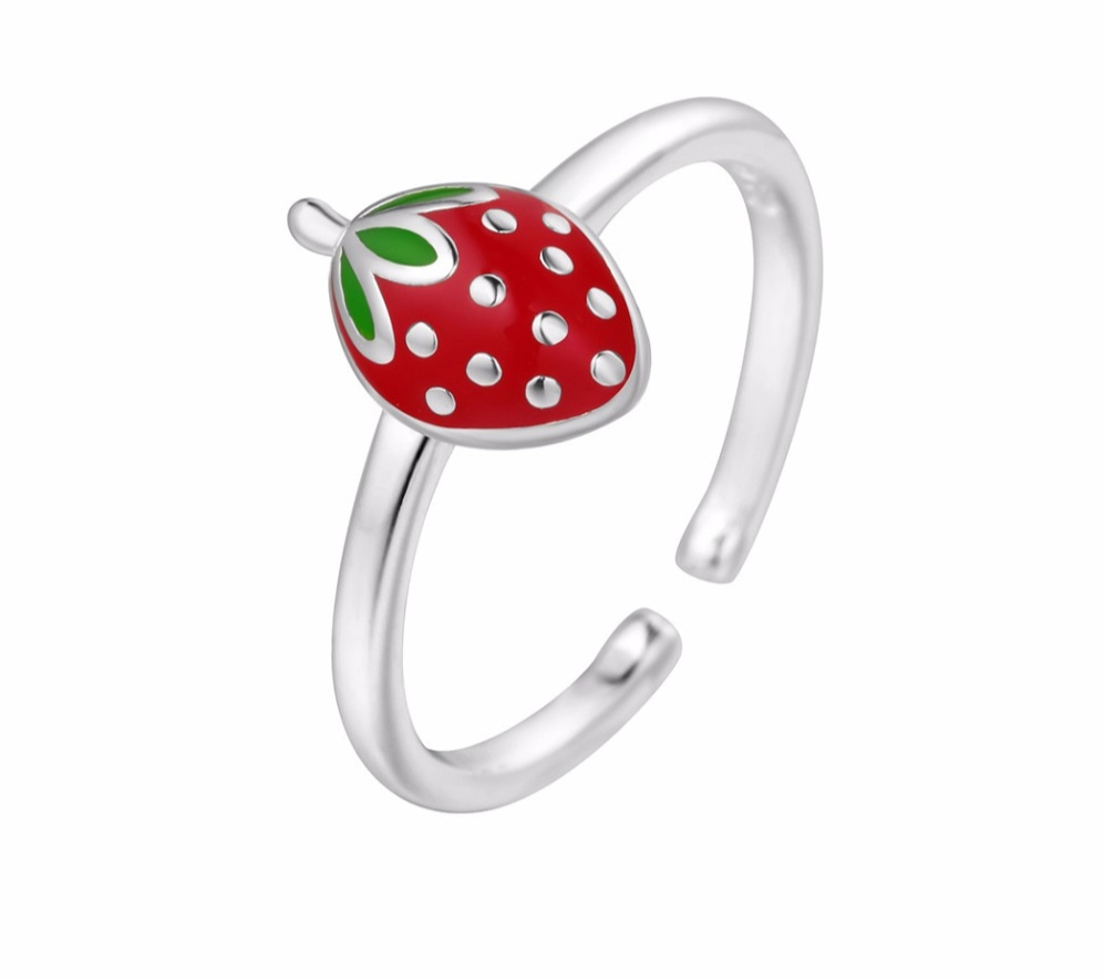 Bague fraise en argent