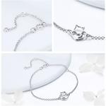 bracelet chat coeur argent