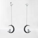 boucles d-oreilles pendantes lune sorcière