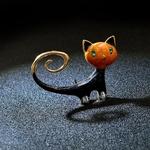 broche chat vintage cuivre