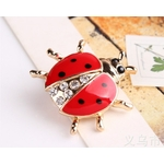 broche coccinelle animal or strass ailes rouges