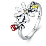 bague abeille coccinelle fleur argent