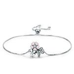 bracelet argent fleurs roses et blanches