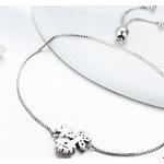 bracelet argent cordon fleurs