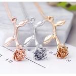 Bijoux-fantaisie-Collier-or-Rose-Rose-d-claration-pendentif-Collier-femmes-beaut-et-b-te-bijoux